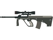 A picture of a steyr AUG rifle against a white background