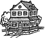 An black and white illustration of a two story house