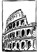 A black and white drawing of the coliseum in rome