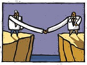 Two doctors shaking hands over a chasm (thumbnail)