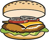 A drawing of a big, delicious cheeseburger