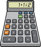 A calculator drawn on a white background