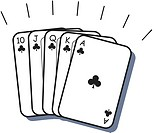 A beautiful poker hand consisting of a straight flush