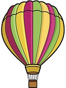 A hot air balloon represented on a white background