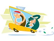 A drawing of a taxi driver and a businessman