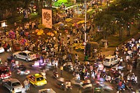 Vietnam, Asia, New Year, Ho Chi Minh City, looking down, crowds, crowd, street, roads, traffic, night, celebrating, lu