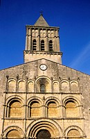 Only the central part of the front of St Gervais and St Protais church reflects the Romanesque origins of the buiding. City of Jonzac. Charente Mariti...