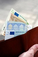 Closeup of hand holding wallet with euros (thumbnail)