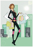 Young woman with many shopping bags