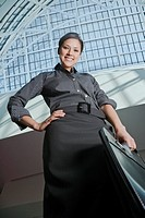 Low angle view of Hispanic businesswoman