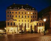 Germany, Saxony, Dresden, Neumarkt, Coselpalais, illumination, evening, buildings, construction, style, rococo, builds architecture, sight, symbol, de...