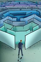 Businessman entering maze