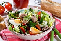 Bowl, assorted salad, salad bowl, peel, salad-peel, food, food, vegetarian, salad, salad-leaves, tuna, egg, cooked, nutrition, healthy, health-conscio...