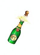 Illustration, champagne-bottle, corks, bangs,
