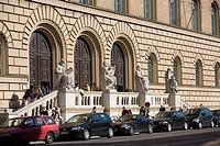 Germany, Bavaria, Munich, Ludwigstraße 16, Bavarian national library, entrance, people,