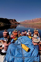 USA, Arizona, Grand Canyon, Colorado River, dinghy, tourists, back view, North America, mountain scenery, river, boat, Raftingboot, Rafting, boat-tour...