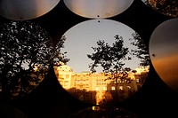 Spain, Barcelona, Passeig de Gracia, wall, windows, round, detail, buildings, architecture, art, trees, confuses silhouette, Reflektion dusk sunny, st...