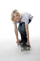 boy, blond, stands carelessly, skateboard, series, people, child, 10 years, long-haired, full-length, jeans, leisurewear, concept, hobby, leisure time...