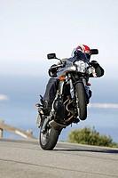 Street, motorcyclists, Wheelie, coast-street, people, man, motorcycle, Motorradfahren, trip, spin, motorcycle-tour, drives, traffic, traffic, motorcyc...