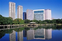 Japan, Tokyo, district Shiodome, Hama Rikyu, Japanese garden, high-rises, Eastern Asia, Honshu, city, city, metropolis, business-quarter, skyscrapers,...