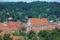 Germany, Baden-Württemberg, Swabian Gmünd, city-overview, sacred-cross-minsters, forest, Ostalbkreis, city, city view, church, minsters, Lord´s house,...