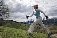 Woman, Nordic-Walking, mountains,