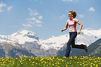 Woman, young, Jogging, mountains