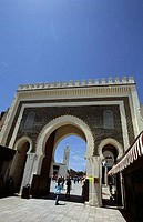 Low angle view of a city gate, Bab Boujeloud, Fez, Morocco