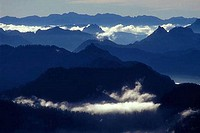 Clouds over mountains, Mount Pilchuck State Park, Washington, USA
