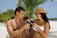 Hispanic couple at beach