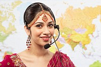 Indian businesswoman wearing headset