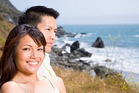 Asian couple at beach