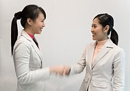 Asian businesswomen shaking hands