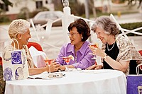 Multi-ethnic senior women having cocktails