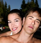 Close up of Hispanic couple outdoors
