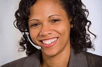African American businesswoman wearing headset