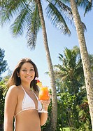 Asian woman holding cocktail (thumbnail)