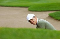 Golfer in a sand trap