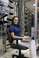 Information technologist in server room