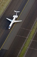 Jet airplane on airport runway