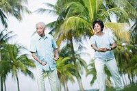 Couple outdoors in park doing tai chi