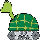 An illustration of a turtle on wheels