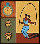 Illustration of a woman using a jump rope