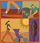 Illustration of people doing outdoor activities