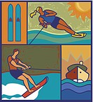 Illustration of two waterskiiers