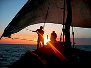 Sailing on a dowl on the Indian ocean, Zanzibar