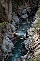 Hiker, on, suspension, bridges, Chateau, Queyras, Hautes-Alpes, France