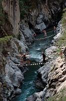 Hiker, on, suspension, bridges, Chateau, Queyras, Hautes-Alpes, France