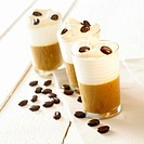 Coffee cream with cream topping in three glasses
