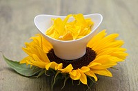 Small bowl of sunflower petals on sunflower